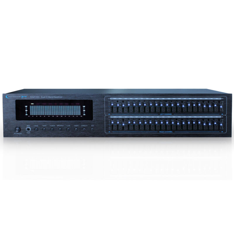 New Technical Pro Dual 21 Band Professional Stereo Equalizer with LED Indicators