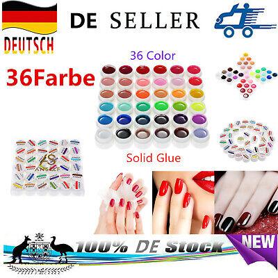 36 Farbe Nail Pigment Set UV Gel polnische Feste Kleber Nailart Politur Set DEU