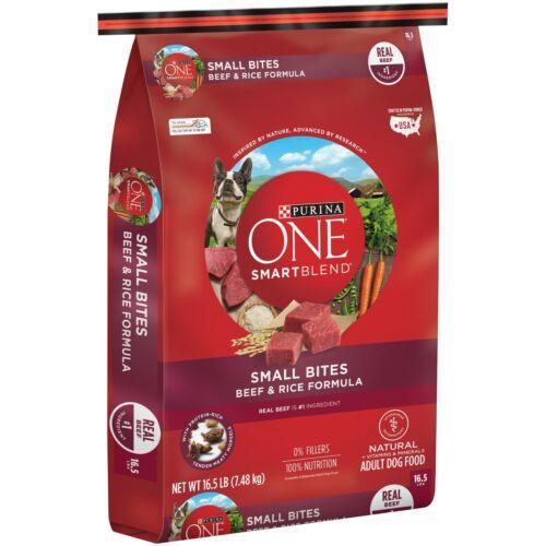 Purina ONE SmartBlend Small Bites Beef Rice Formula Adult Premium Dog Food 33 LB