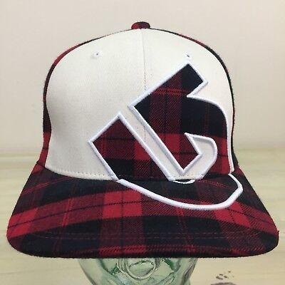 BURTON SNOWBOARDS - Red Plaid Flex Fit Baseball Cap Hat, Fits 7-7 3/8 3 Flex Fit Cap