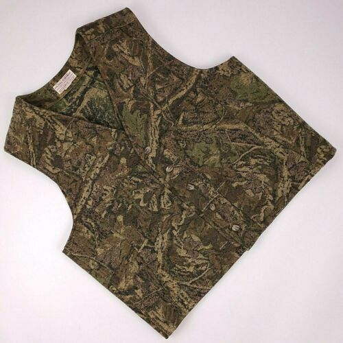 CC Filson Hunting Vest XL Wool Camo Green Multicolor Usa Vintage Pockets Mens Sz