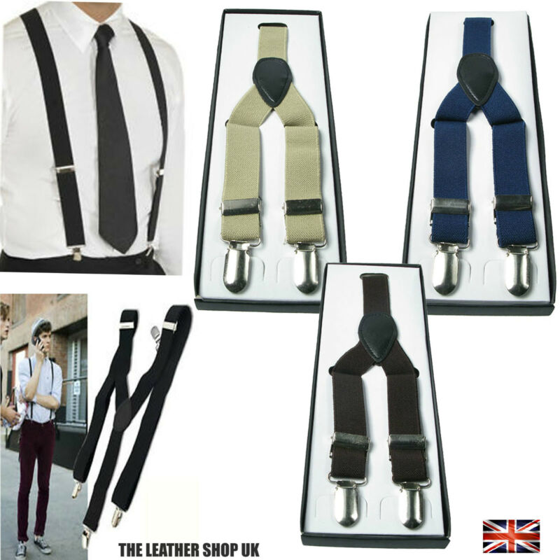 Mens Grey 1 inch Elasticated Plain Braces Adjustable Suspender 3 Clip UK Seller