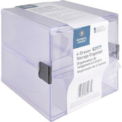 Business Source 4-drawer Storage Organizer Desktop - Clear - 1 Ea. Bsn82977