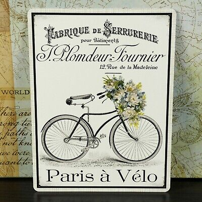 Paris a Velo Metal French Plaque Vintage Retro Sign Kitchen Flowers Shabby Chic