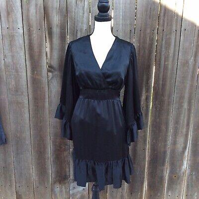 Betsey Johson Collection Silk Bell Sleeve Vneck Dress Womens Medium Silk Bell Sleeve