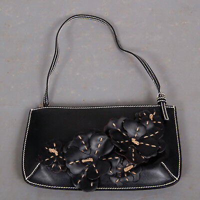 Celine Vintage black leather small bag with 3 dimensional flower detail segunda mano  Embacar hacia Mexico