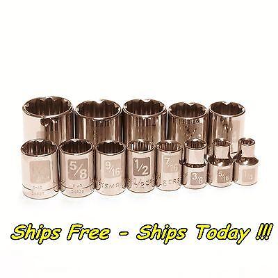 Craftsman 13pc Piece 3/8 Drive 12pt SAE Inch STD Laser Etch Easy Read Socket Set