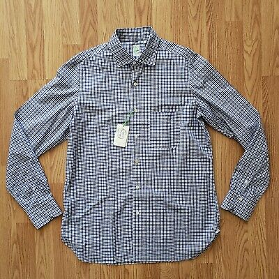 Finamore Napoli 1925 Blue Plaid Shirt, Size L, Blue | NWT $450