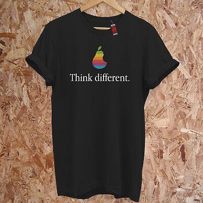 Think Different Spoof Pear Apple Nerd Geek Funny Joke Premium T-Shirt S-5XL
