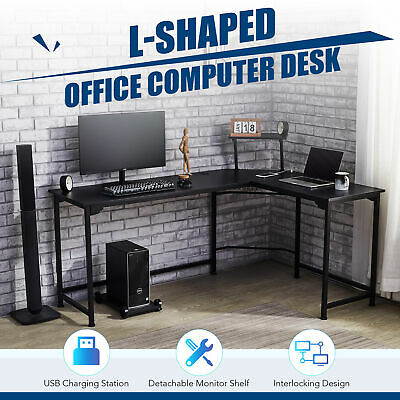 L Shaped Gaming Desk W Charging Station And Monitor Stand 53x19 72x19 Black