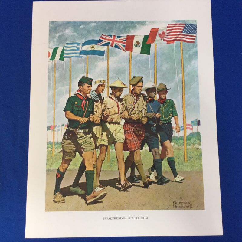 """Norman Rockwell Boy Scout Print 11""""x14"""" Breakthrough For Freedom"""