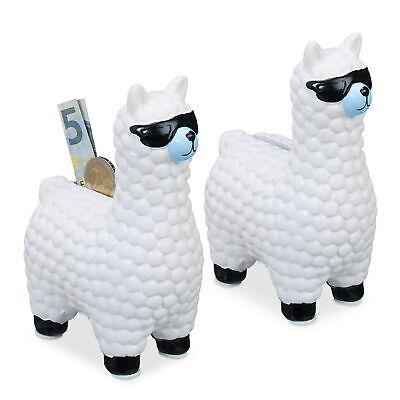 2x Lama Spardose Gelddose Sparschwein Alpaka mit Sonnenbrille Sparbüchse Keramik