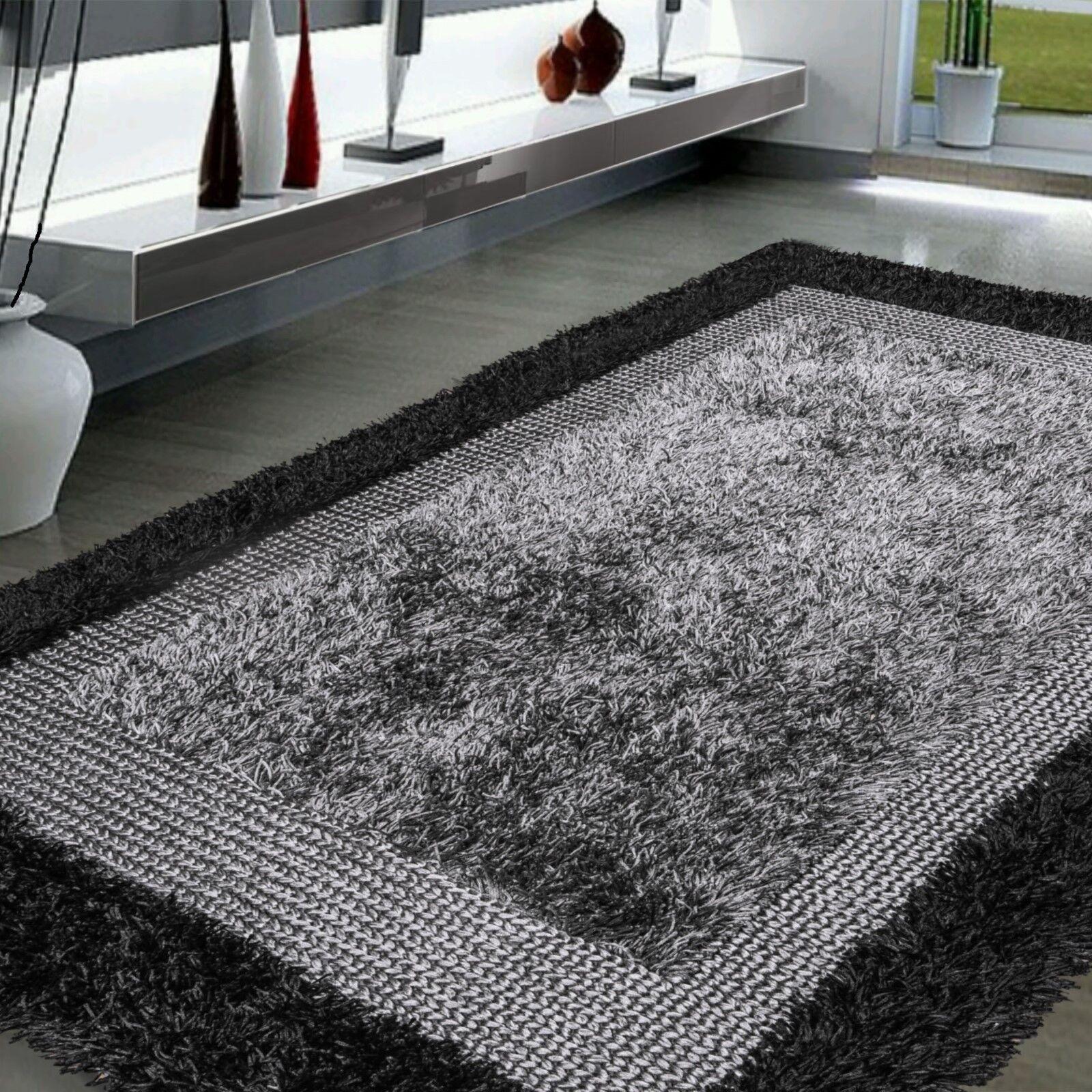 "5' x 7'6"" Handmade Modern Shag Area rug Gray Black conte"