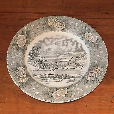 Vintage Adams China Dinner Plate Currier & Ives