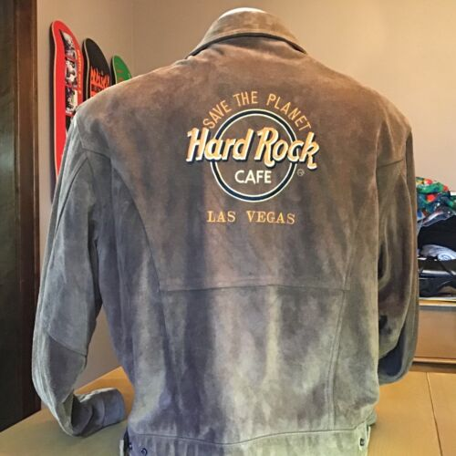 VINTAGE HARD ROCK CAFE LAS VEGAS SUEDE LEATHER JACKET large