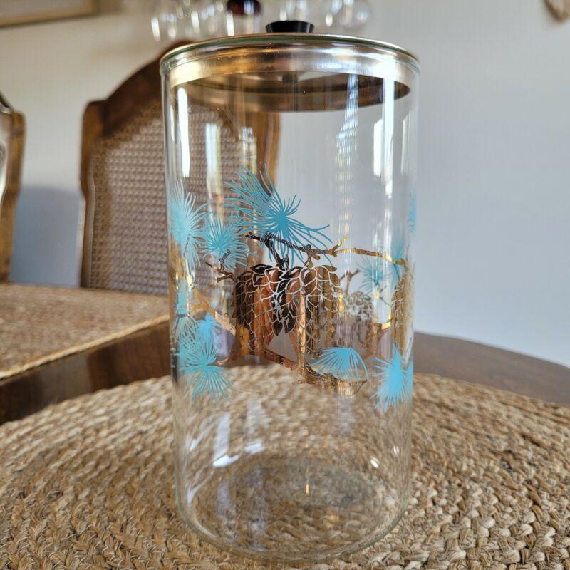 Vintage Mid Century Modern Douglas Glass Canister Storage Jar Pine Cones