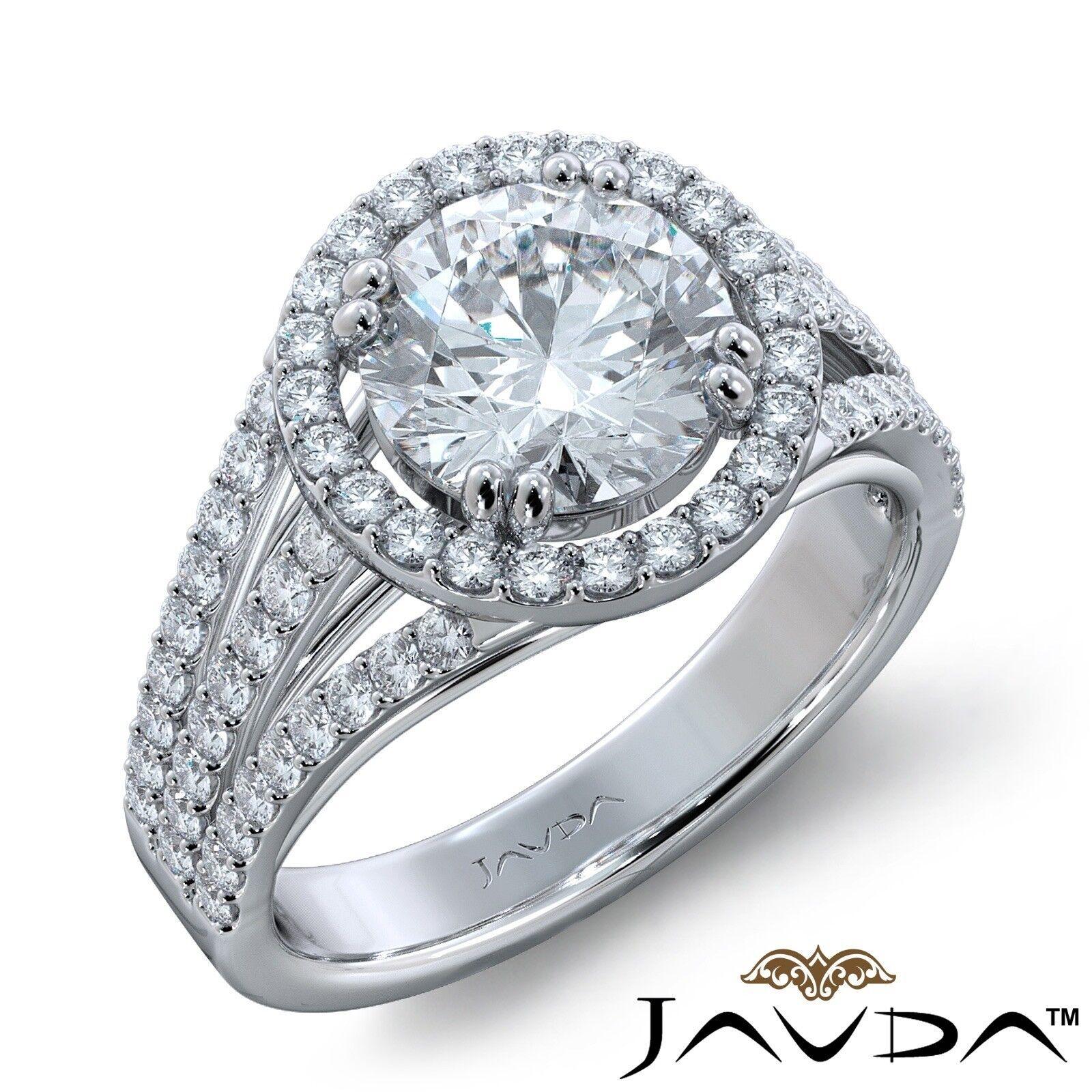 2ct Trio Shank Halo Sidestone Round Diamond Engagement Ring GIA E-VS2 White Gold