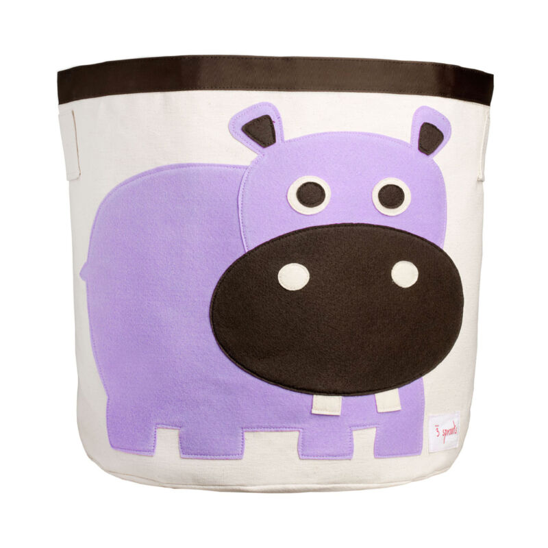 3 Sprouts Canvas Storage Bin - Laundry and Toy Basket for Baby and Kids, Hippo