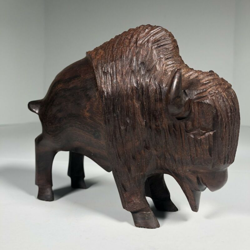 "Ironwood Buffalo Figurine Hand Carved 6""x5""x2"" Buffalo Themed Art Statue 1.5lbs"