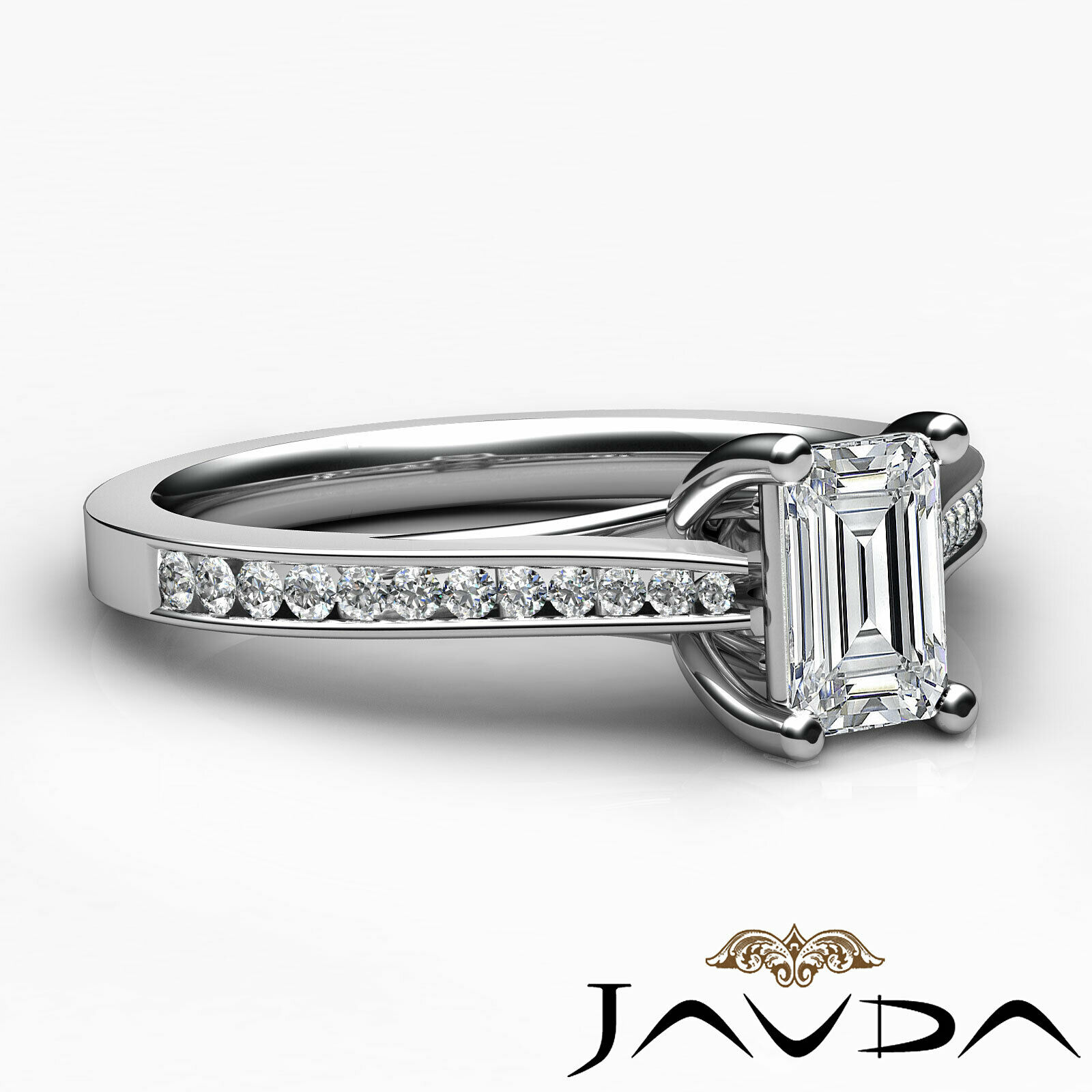 1Ctw Channel Set Emerald Diamond Engagement Her Ring Band GIA H-VVS1 White Gold 3