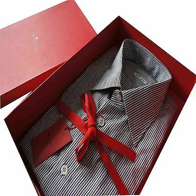 "Kiton Formal Multi-Brown with Blue Needle Stripe  SZ: 42 Collar 16.5"" BNWB"