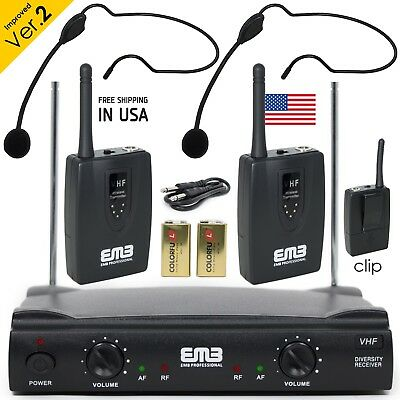 Professional Wireless Microphone System Dual Headset 2 x Mic Cordless - 2 Mic Wireless System