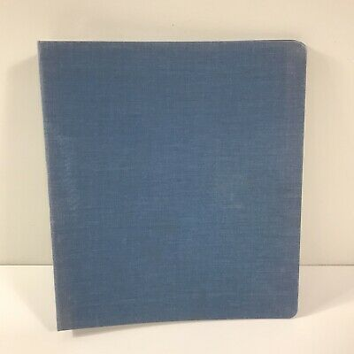 Vintage Canvas Cloth Cover 3 Ring 1 Inch School Binder Blue Notebook
