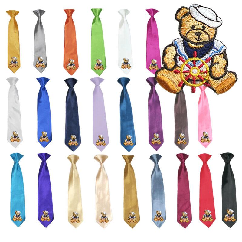 23 Color Stain Solid Clip-on Sailor Bear Necktie Boys Formal Suits Newborn - 7
