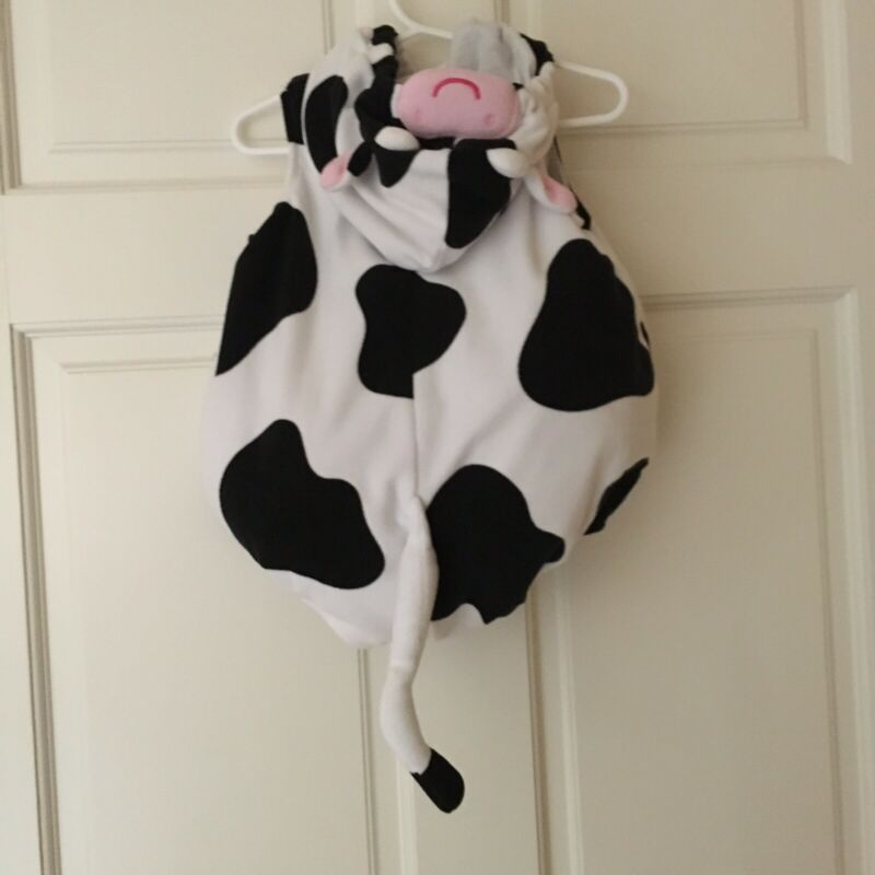 Carter's 12 Months Baby Cow Halloween Costume White Black Spotted Hooded
