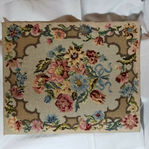 """Handstitched Wool Needlepoint Mounted and Previously Framed - Vintage 17.75""""x22"""""""