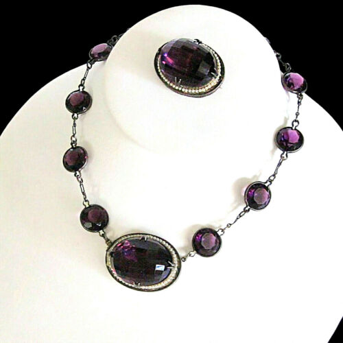 Antique Sterling Bezel Set Amethyst Czech Glass & Seed Pearl Necklace & Brooch