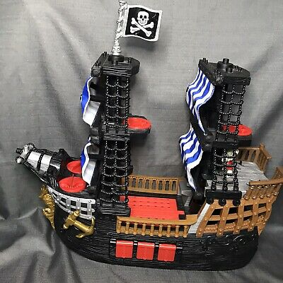 Fisher Price Imaginext Black Pirate Ship Kohls Exclusive Blue Sails + Skeleton