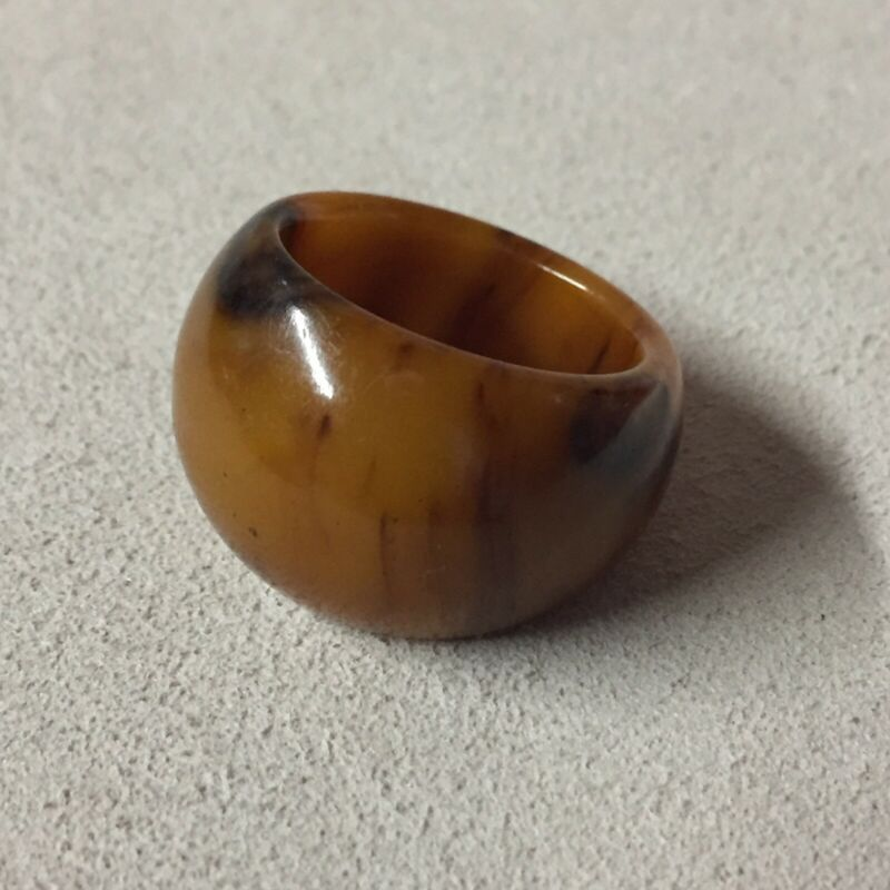 "Vintage Amber Bakelite Ring Band 7.5"""
