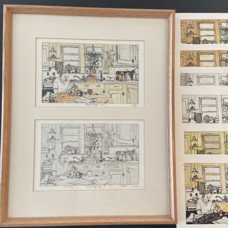 """1976 NANCY R DAVISON Etching 8Trial Proofs Artist Signed, 2 are framed 17.5""""x13"""""""