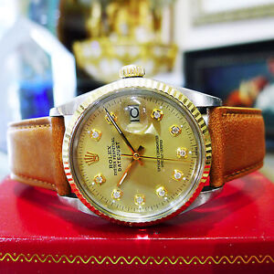 Mens Vintage ROLEX Oyster Perpetual Datejust Diamond Steel Yellow Gold Watch