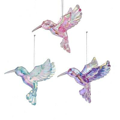 Teal Christmas Ornaments (Irridescent Hummingbirds Christmas Holiday Ornaments Set of 3 Pink Teal)