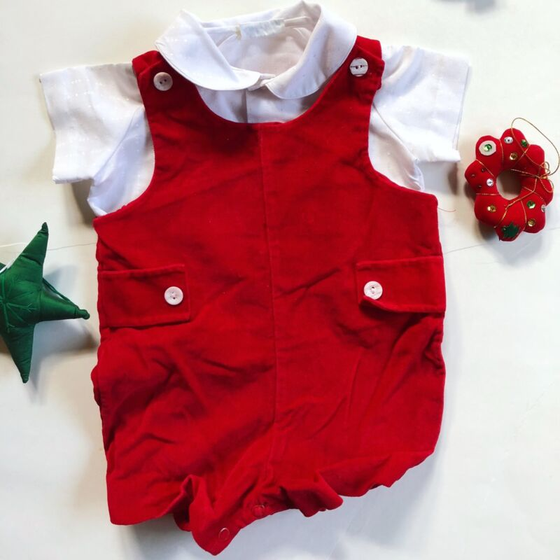Vintage Infant Christmas Outfit Red Velvet Romper w Shirt 2 piece 9-12 Months