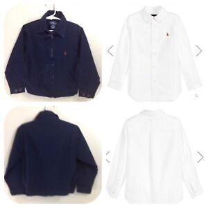 Polo by Ralph Lauren Blue Jacket + white Oxford shirt Size 12 m