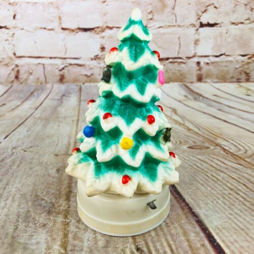 Vtg christmas tree Decoratoin light up rubber Made in Hong Kong Retro 6""