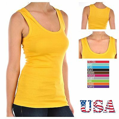 (Women 100% Cotton Ribbed Tank Top T-Shirt Sports Gym Fashion Casual Sleeveless T)