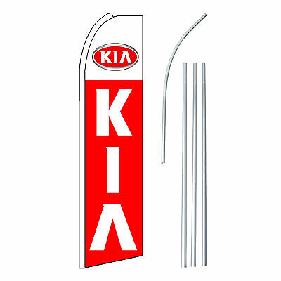 Kia Red Advertising Feather Flutter Swooper 2.5 Banner Flag And Pole Only