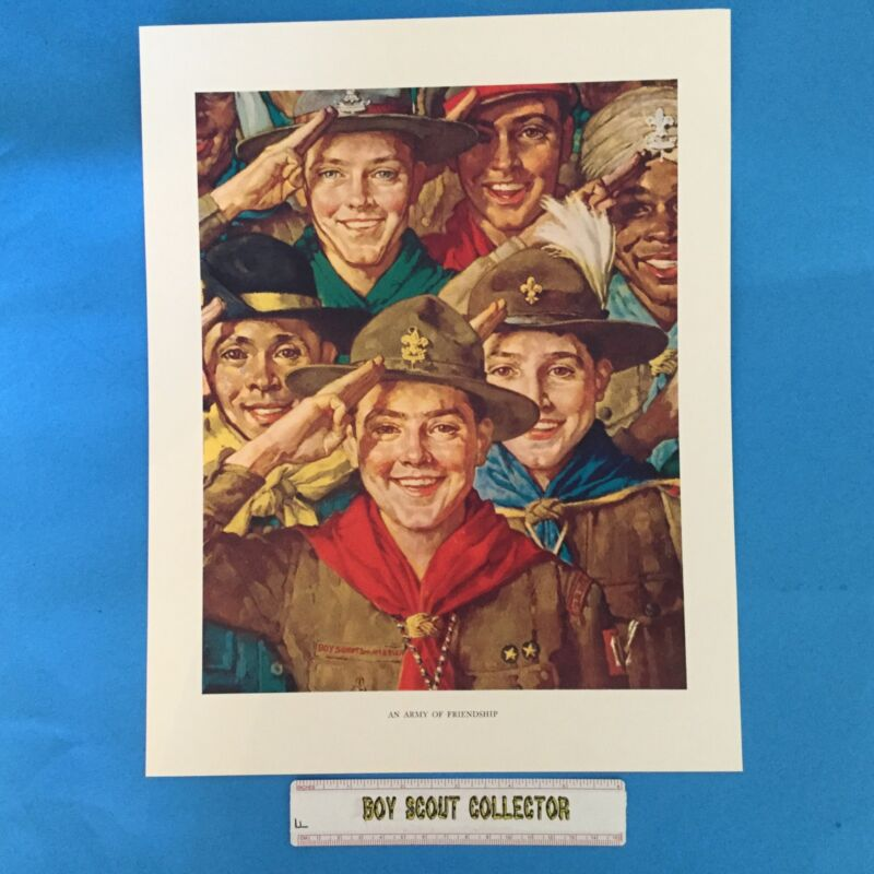 """Boy Scout Norman Rockwell Print 11""""x14"""" An Army Of Friendship"""