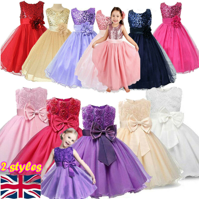Kids Girls Sequins Wedding Dress Layered Costume Princess Formal Party Dress