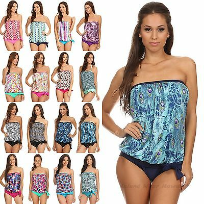 Two Piece Bandeau Blouson Top Built In Bra Strapless Swimsuit Tankini 8-18 -
