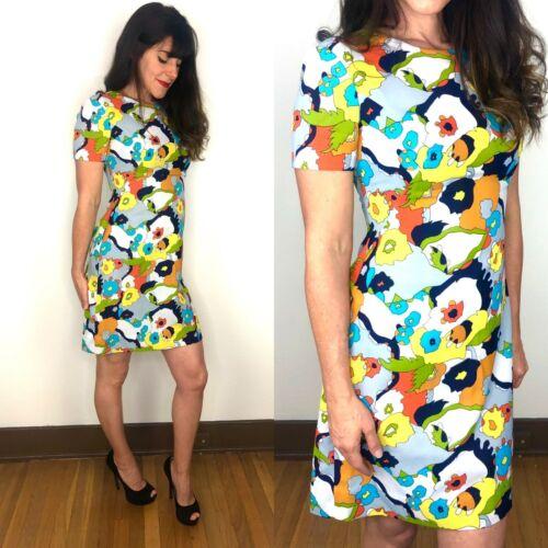 Vintage Handmade 1960s Mod GoGo Modest A Sheat Dress Vibrant Pattern Womens XS