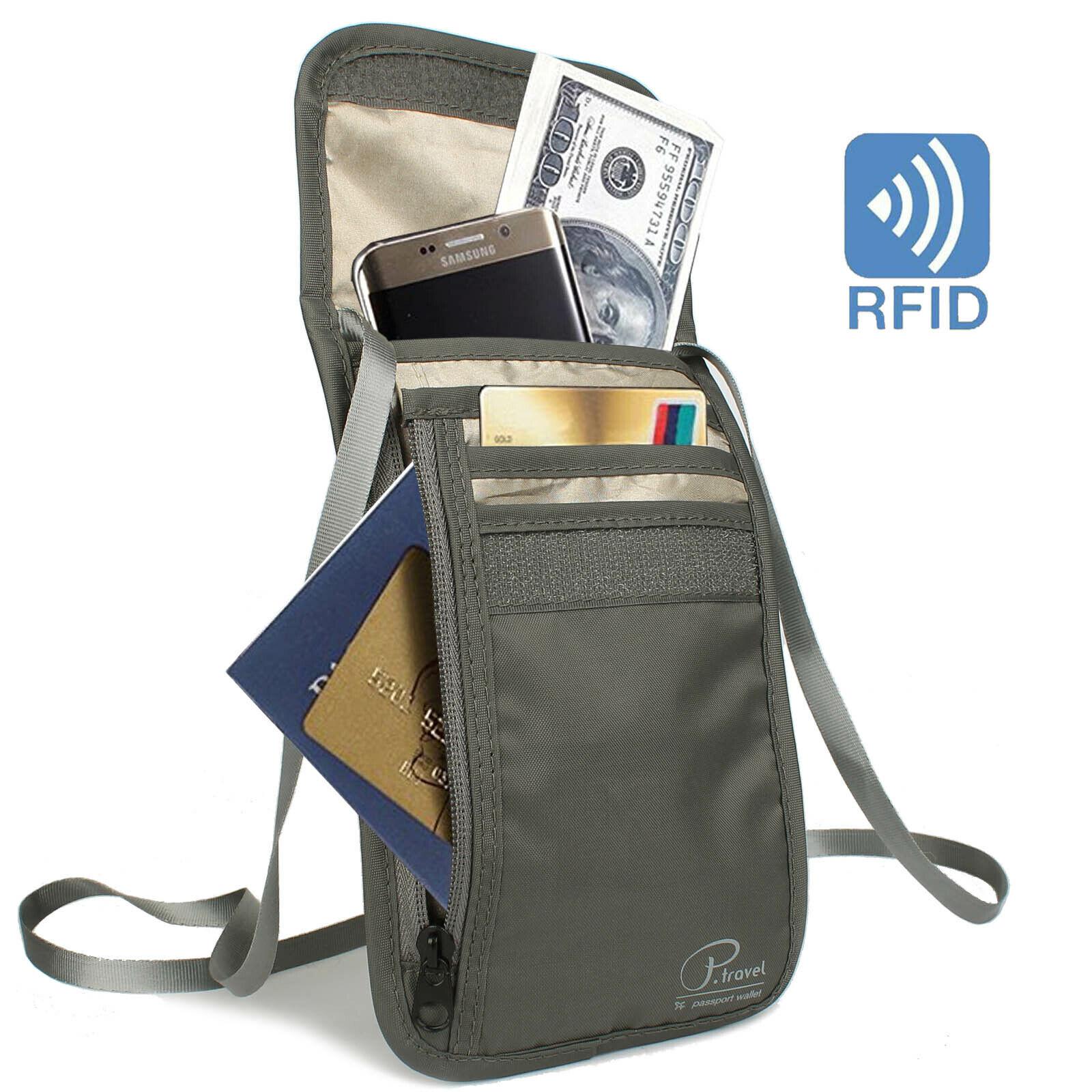 Nylon Anti-Theft Travel Passport Neck Bag RFID Blocking Mini
