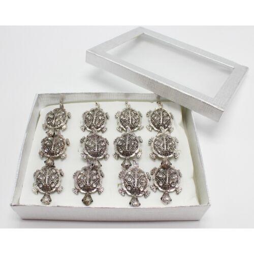 One Dozen New Silver Turtle Rhinestone Adjustable Rings in Display Box #R2021