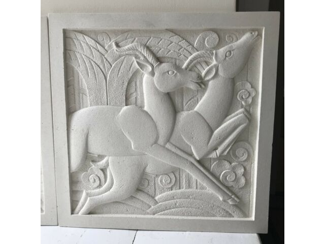 Pair of Art Deco Sculpted Plaques - 1x Right Hand & 1x Left Hand