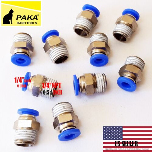 """10X  Male Straight Connector Tube OD 1/4""""(6mm) X  NPT 1/4 PU Air Push In Fitting"""