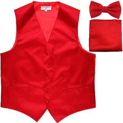 New Men's Red formal vest Tuxedo Waistcoat_bowtie & hankie set wedding - Red Tuxedo Vest Set